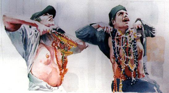 "Mardi Gras Flashers"" - Watercolor"