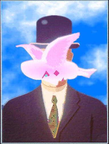 Homage to magritte - Tableau chapeau melon pomme verte ...