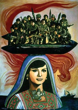Abdal Rahman Al Mozayen Fighters 1971 Oil On Canvas 70 X 50 Cm 7 The Martyr Dallal Mughraby 1987